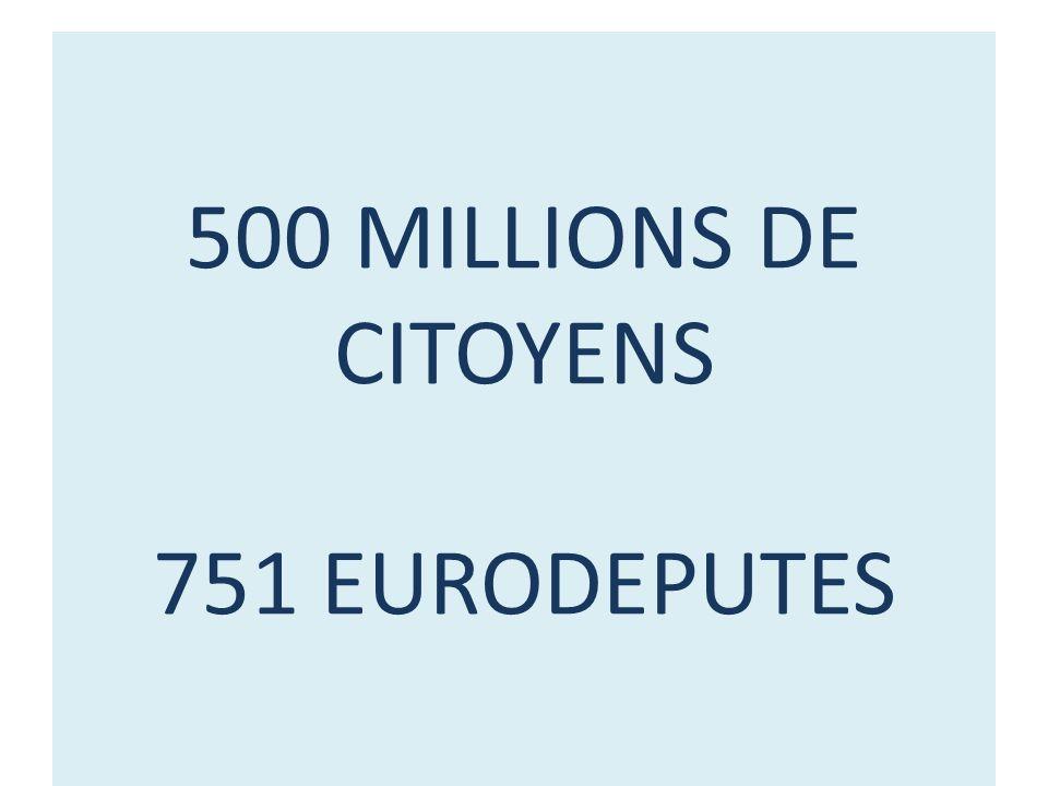 500 MILLIONS DE CITOYENS 751 EURODEPUTES