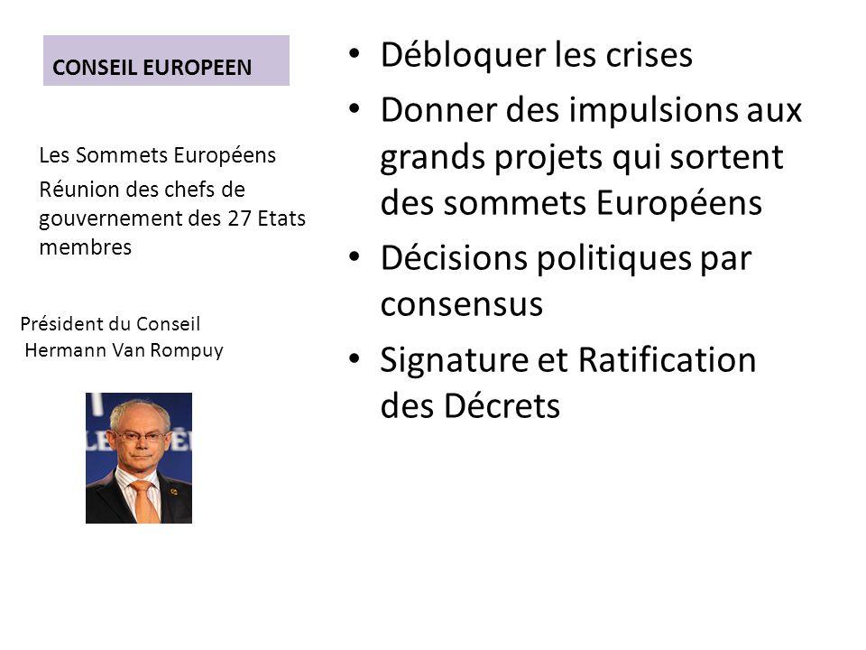 CONSEIL EUROPEEN Débloquer les crises Donner des impulsions aux grands projets qui sortent des sommets Européens Décisions politiques par consensus Signature et Ratification des Décrets Les Sommets Européens Réunion des chefs de gouvernement des 27 Etats membres Président du Conseil Hermann Van Rompuy
