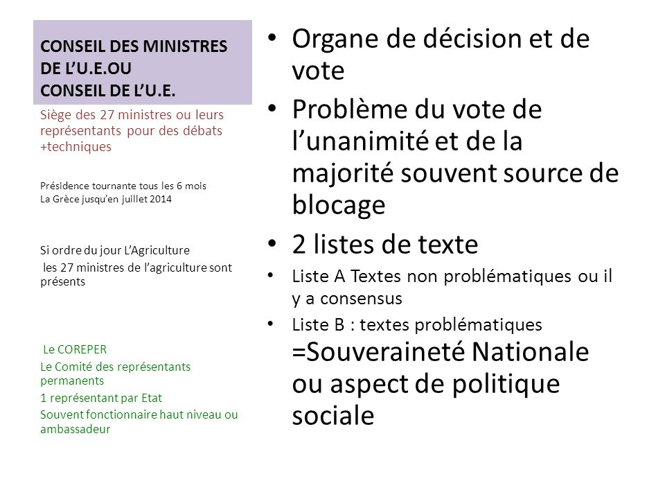 CONSEIL DES MINISTRES DE LU.E.OU CONSEIL DE LU.E.
