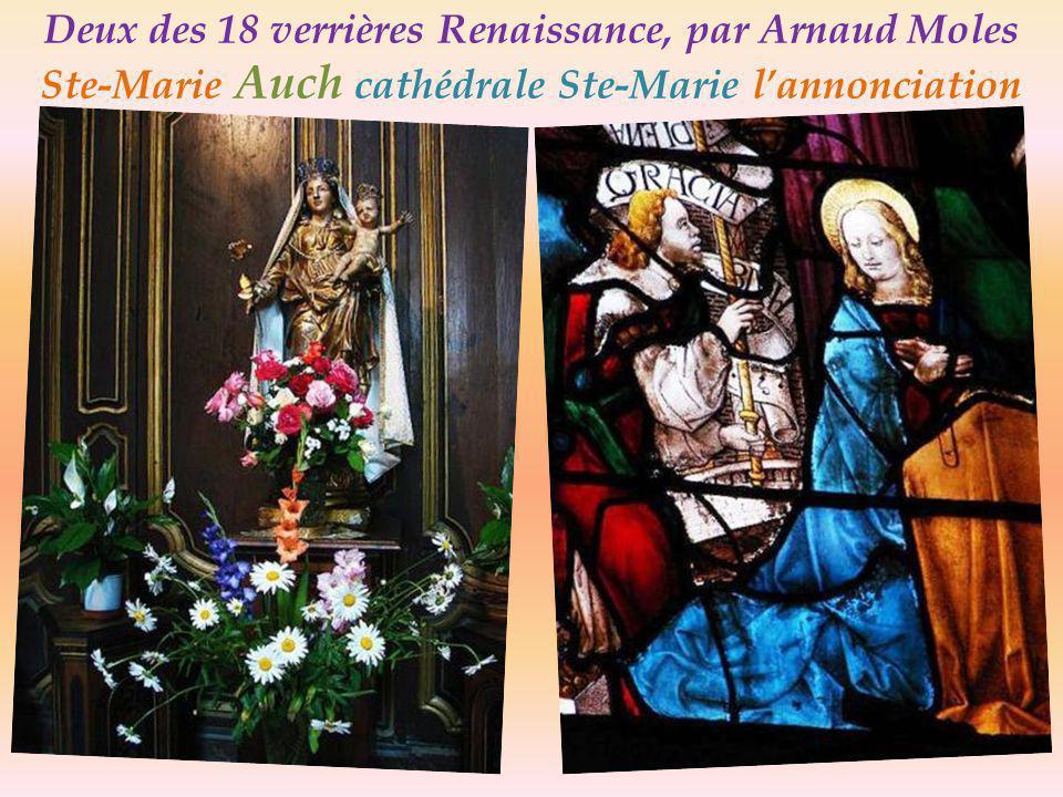 Deux des 18 verrières Renaissance, par Arnaud Moles Adam et Ève Auch la cathédrale Ste-Marie