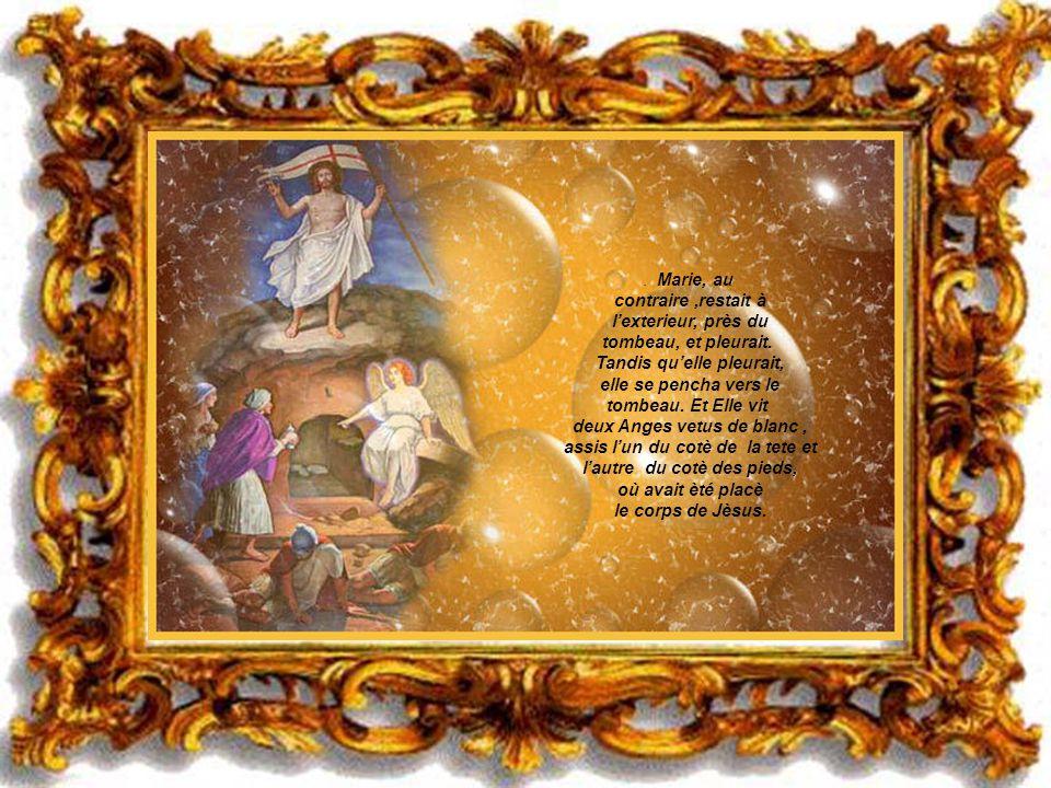Alors aussi lautre disciple entra, celui qui ètait arrivè le premier au tombeau: et il vit et il crut. Ils navaient, en fait, encore compris les Ecrit