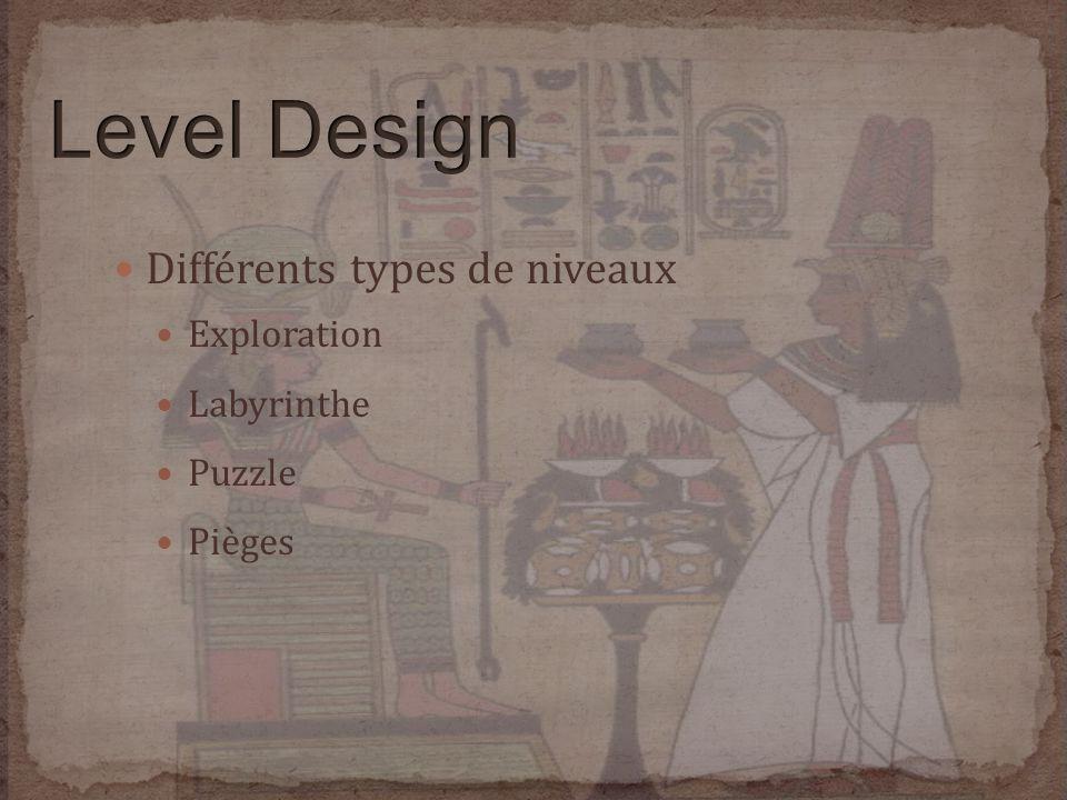 Différents types de niveaux Exploration Labyrinthe Puzzle Pièges