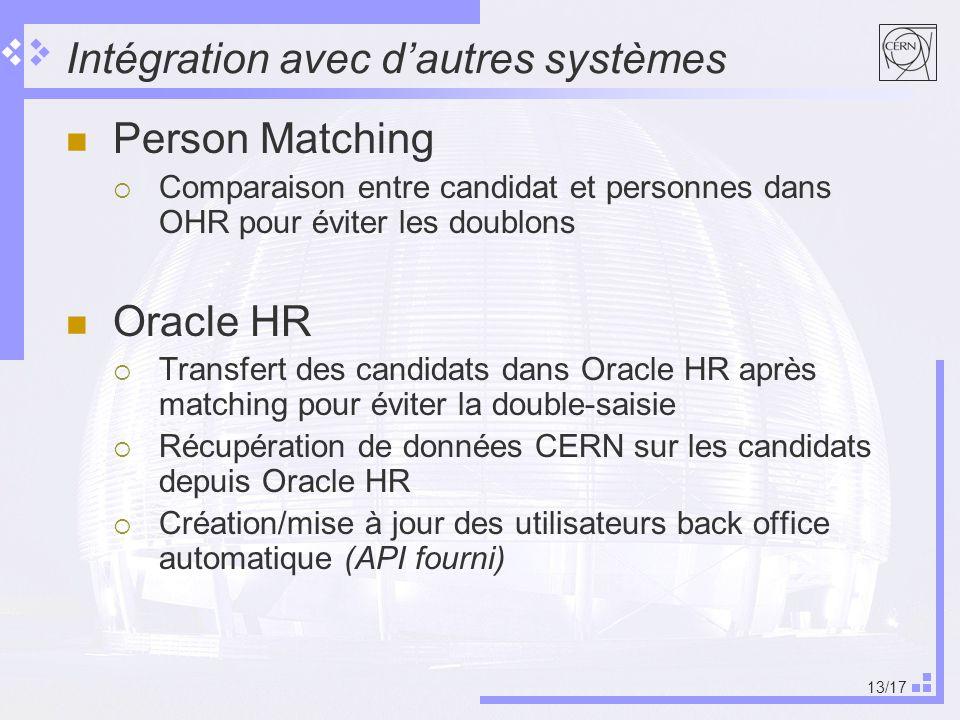 13/17 Intégration avec dautres systèmes Person Matching Comparaison entre candidat et personnes dans OHR pour éviter les doublons Oracle HR Transfert des candidats dans Oracle HR après matching pour éviter la double-saisie Récupération de données CERN sur les candidats depuis Oracle HR Création/mise à jour des utilisateurs back office automatique (API fourni)