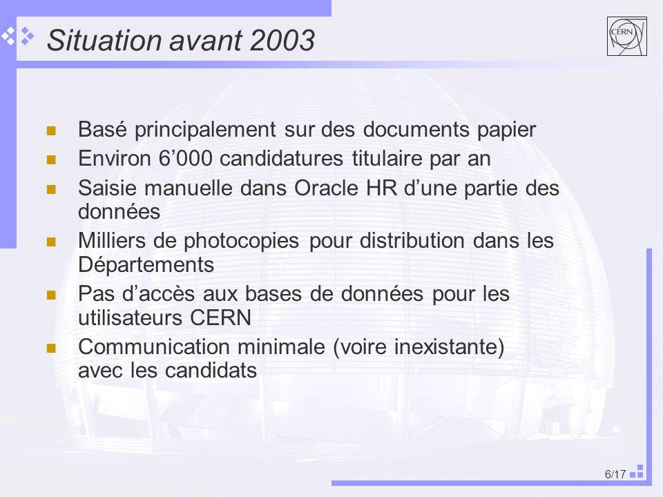 6/17 Situation avant 2003 Basé principalement sur des documents papier Environ 6000 candidatures titulaire par an Saisie manuelle dans Oracle HR dune