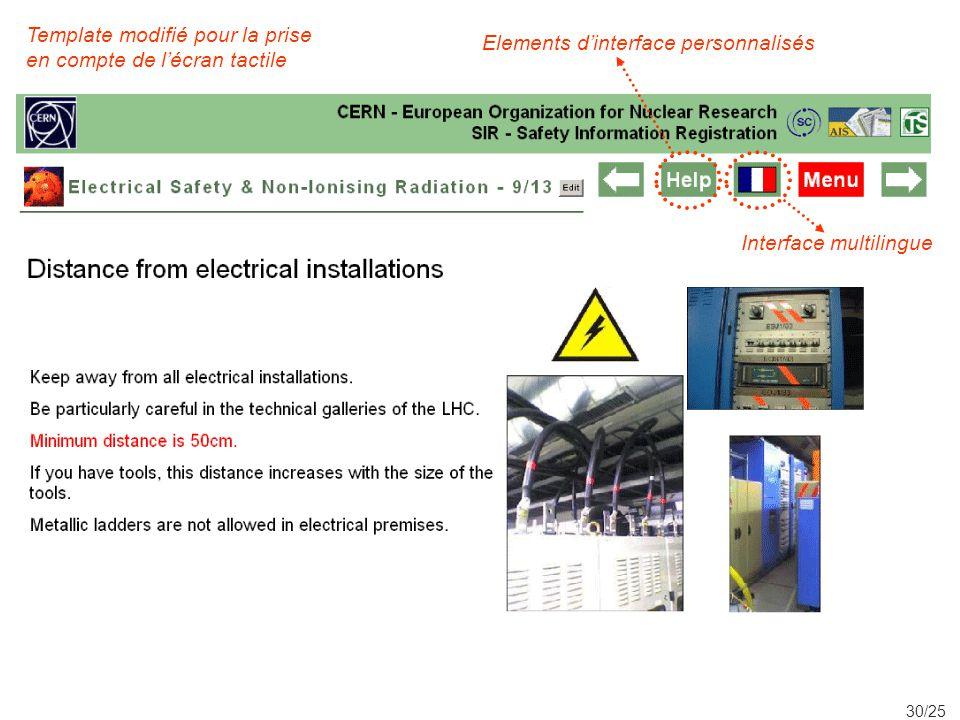 30/25 Elements dinterface personnalisés Template modifié pour la prise en compte de lécran tactile Interface multilingue