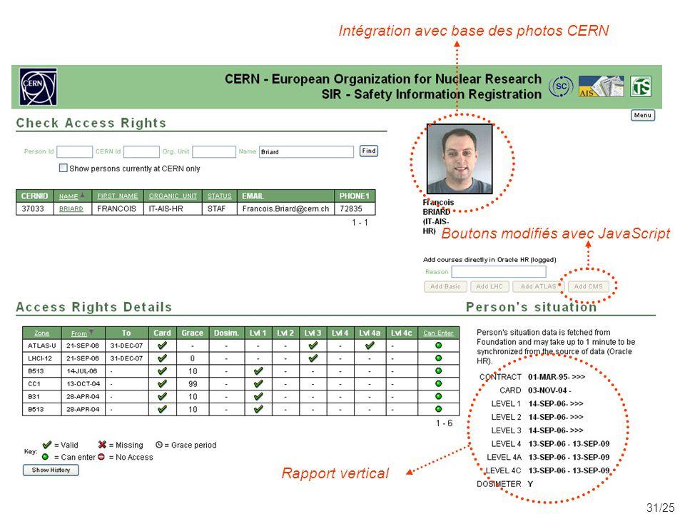 31/25 Boutons modifiés avec JavaScript Intégration avec base des photos CERN Rapport vertical