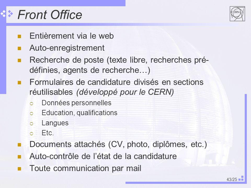 43/25 Front Office Entièrement via le web Auto-enregistrement Recherche de poste (texte libre, recherches pré- définies, agents de recherche…) Formulaires de candidature divisés en sections réutilisables (développé pour le CERN) Données personnelles Education, qualifications Langues Etc.