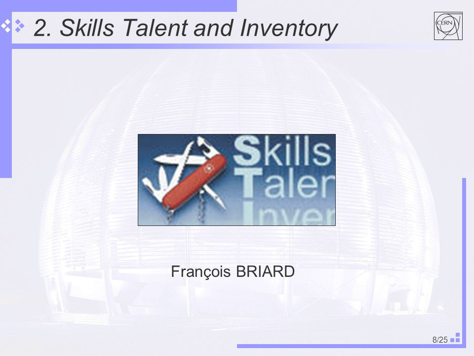 8/25 2. Skills Talent and Inventory François BRIARD