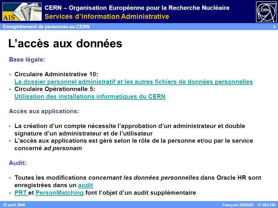 CERN – Organisation Européenne pour la Recherche Nucléaire Services dInformation Administrative Enregistrement de personnes au CERN 4 François BRIARD
