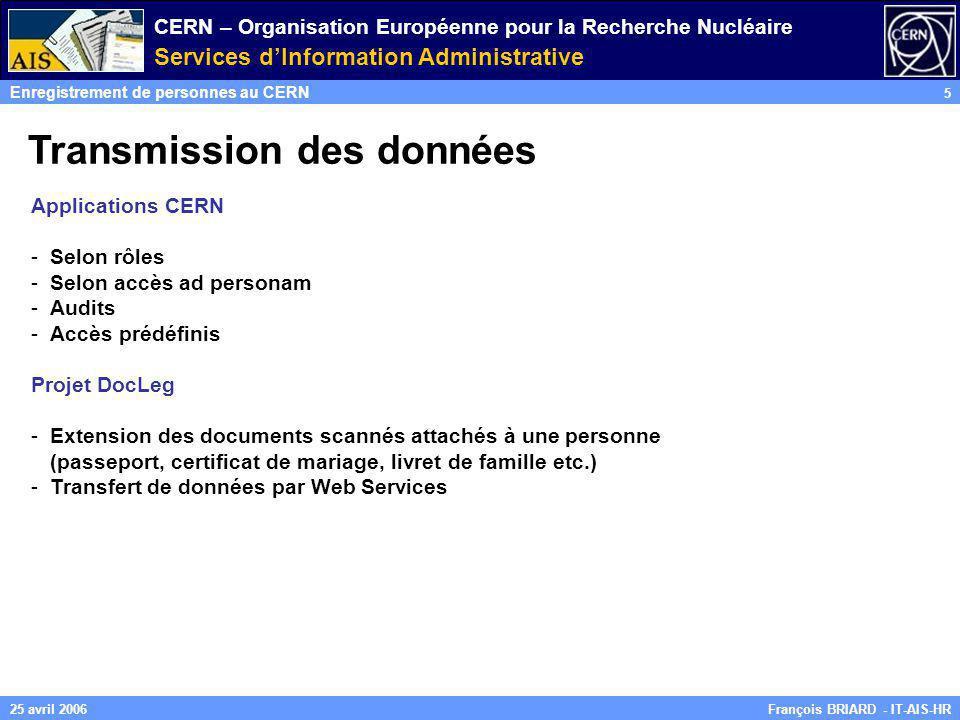 CERN – Organisation Européenne pour la Recherche Nucléaire Services dInformation Administrative Enregistrement de personnes au CERN 5 François BRIARD