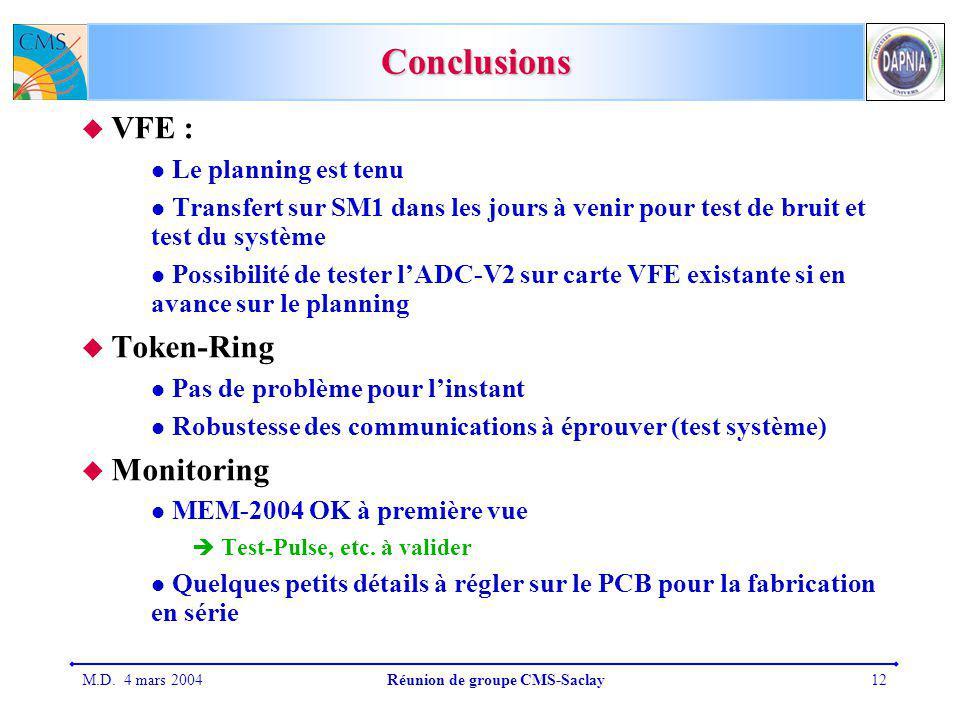M.D. 4 mars 2004Réunion de groupe CMS-Saclay12 Conclusions VFE : Le planning est tenu Transfert sur SM1 dans les jours à venir pour test de bruit et t