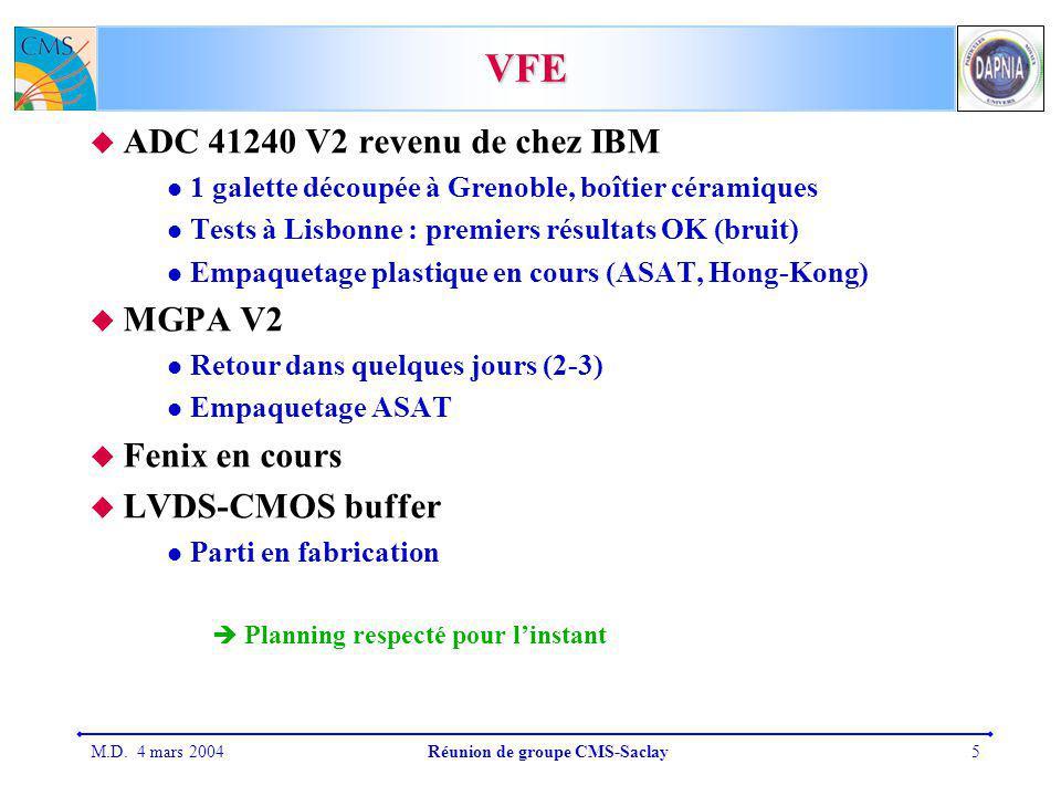 M.D. 4 mars 2004Réunion de groupe CMS-Saclay5 VFE ADC 41240 V2 revenu de chez IBM 1 galette découpée à Grenoble, boîtier céramiques Tests à Lisbonne :