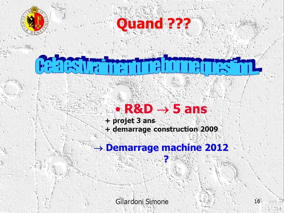 Gilardoni Simone 16 Quand ??? R&D 5 ans + projet 3 ans + demarrage construction 2009 Demarrage machine 2012 ?
