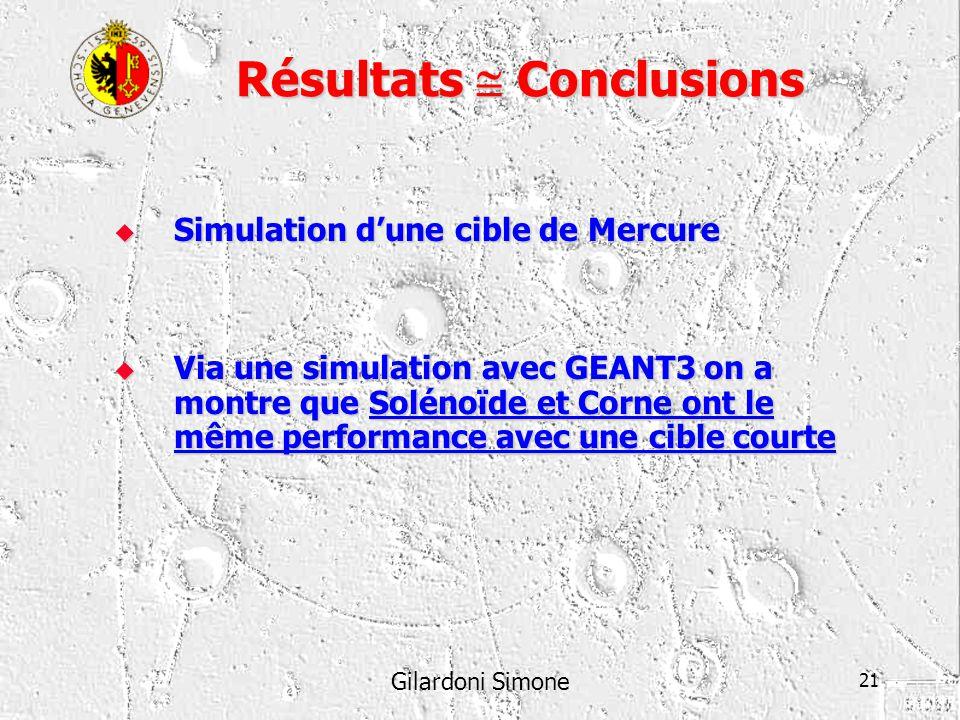 Gilardoni Simone 21 Résultats Conclusions Simulation dune cible de Mercure Simulation dune cible de Mercure Via une simulation avec GEANT3 on a montre