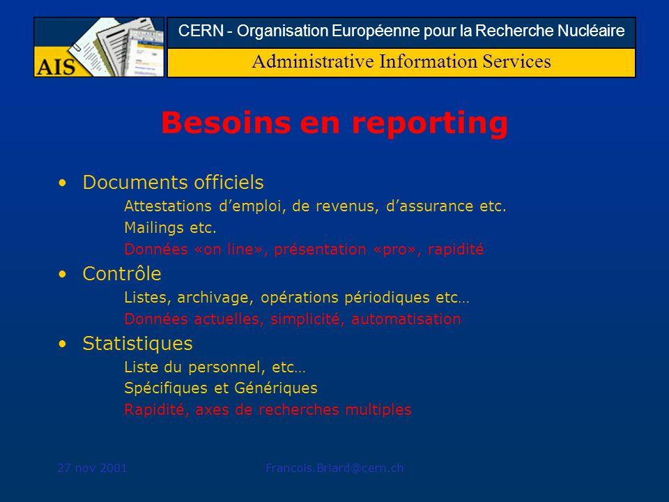 Administrative Information Services CERN - Organisation Européenne pour la Recherche Nucléaire 27 nov 2001Francois.Briard@cern.ch Besoins en reporting Documents officiels Attestations demploi, de revenus, dassurance etc.