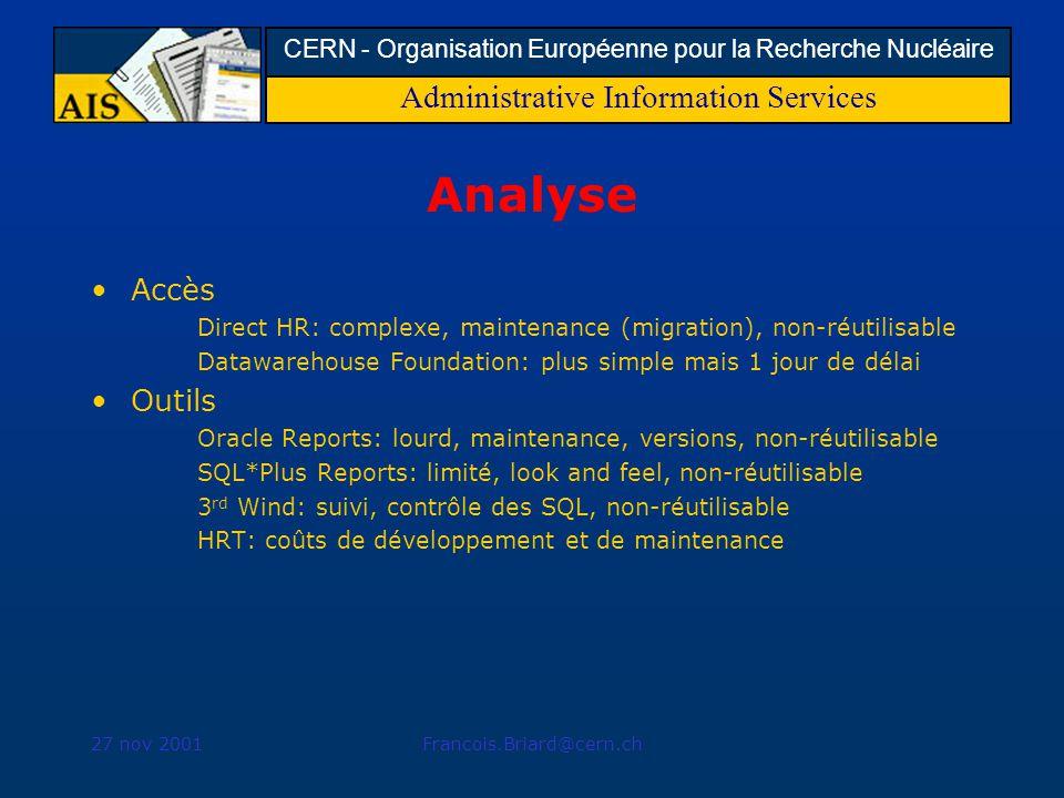 Administrative Information Services CERN - Organisation Européenne pour la Recherche Nucléaire 27 nov 2001Francois.Briard@cern.ch Analyse Accès Direct HR: complexe, maintenance (migration), non-réutilisable Datawarehouse Foundation: plus simple mais 1 jour de délai Outils Oracle Reports: lourd, maintenance, versions, non-réutilisable SQL*Plus Reports: limité, look and feel, non-réutilisable 3 rd Wind: suivi, contrôle des SQL, non-réutilisable HRT: coûts de développement et de maintenance
