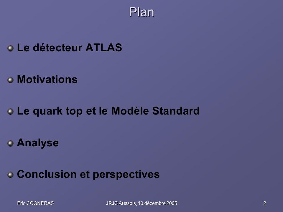 2Eric COGNERASJRJC Aussois, 10 décembre 2005 Plan Le détecteur ATLAS Motivations Le quark top et le Modèle Standard Analyse Conclusion et perspectives