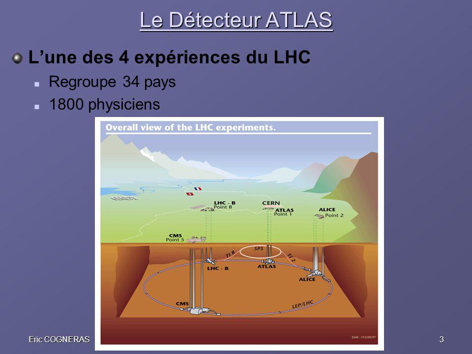 3Eric COGNERASJRJC Aussois, 10 décembre 2005 Le Détecteur ATLAS Lune des 4 expériences du LHC Regroupe 34 pays 1800 physiciens