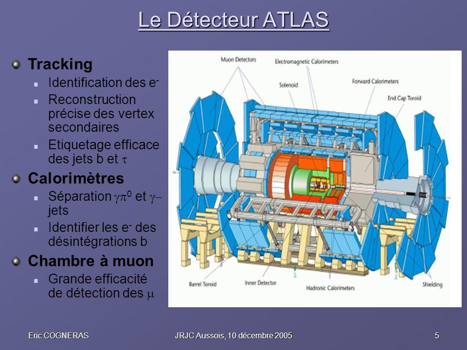 5Eric COGNERASJRJC Aussois, 10 décembre 2005 Le Détecteur ATLAS Tracking Identification des e - Reconstruction précise des vertex secondaires Etiqueta