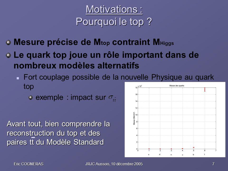 7Eric COGNERASJRJC Aussois, 10 décembre 2005 Motivations : Pourquoi le top ? Mesure précise de M top contraint M Higgs Le quark top joue un rôle impor
