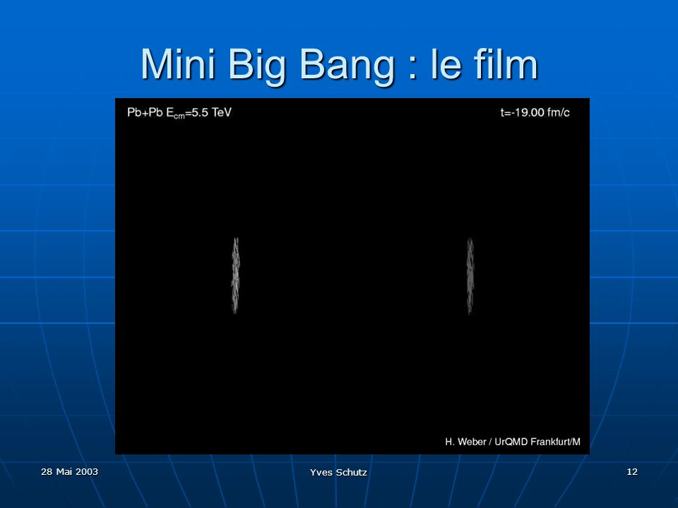 28 Mai 2003 Yves Schutz 12 Mini Big Bang : le film
