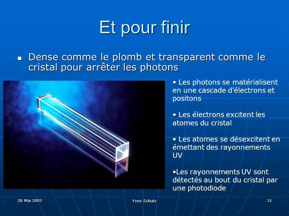 28 Mai 2003 Yves Schutz 31 Et pour finir Dense comme le plomb et transparent comme le cristal pour arrêter les photons Dense comme le plomb et transpa