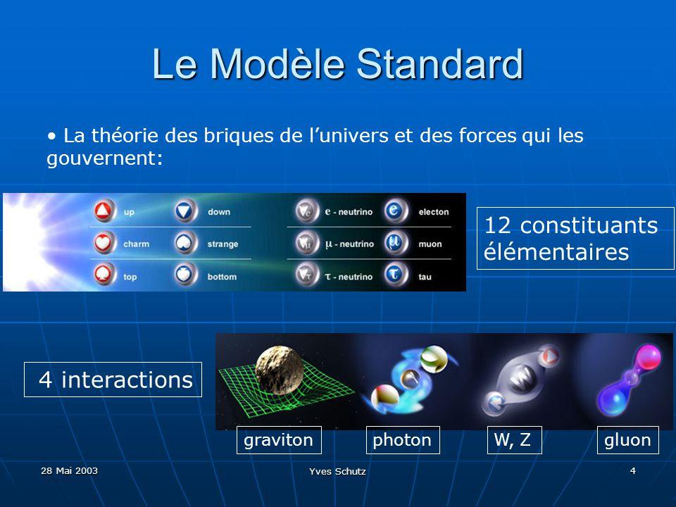 28 Mai 2003 Yves Schutz 4 Le Modèle Standard La théorie des briques de lunivers et des forces qui les gouvernent: 12 constituants élémentaires 4 inter