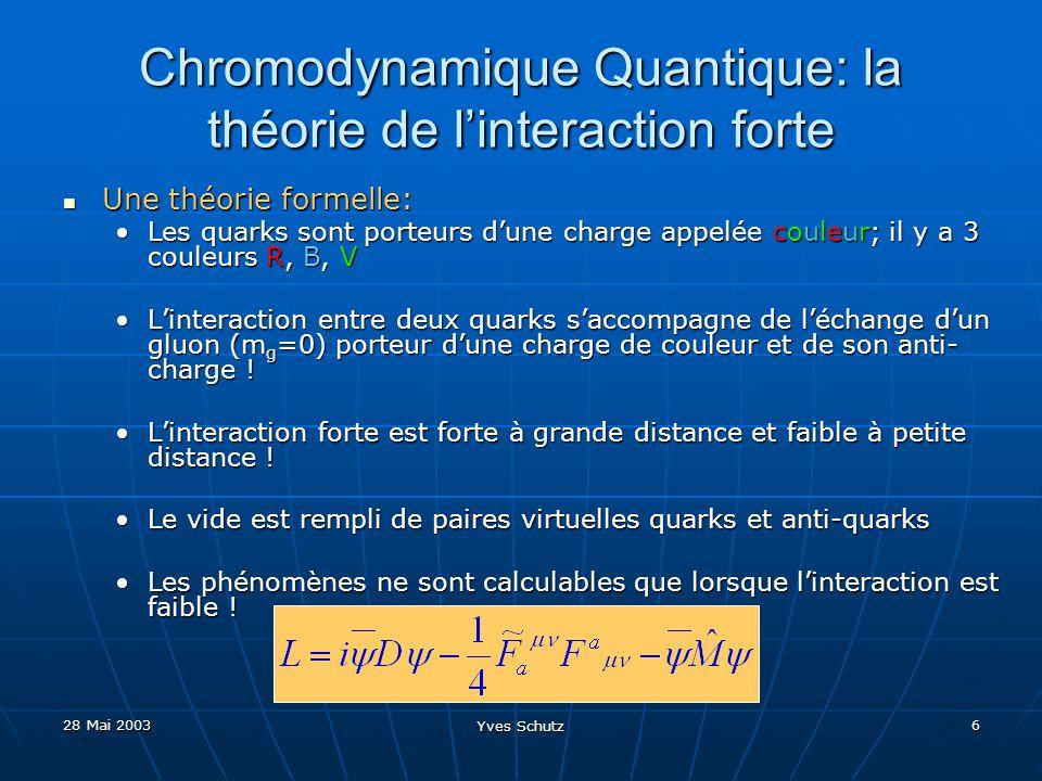 28 Mai 2003 Yves Schutz 7 Chromodynamique Quantique: la théorie de linteraction forte Des additifs empiriques: Des additifs empiriques: Les quarks (de valence) sont emprisonnés dans les hadrons (baryons et mésons) de façon à former des objets incoloresLes quarks (de valence) sont emprisonnés dans les hadrons (baryons et mésons) de façon à former des objets incolores Linteraction des quarks de valence avec le vide contribue à la masse des hadronsLinteraction des quarks de valence avec le vide contribue à la masse des hadrons Il nest pas possible disoler une charge de couleurIl nest pas possible disoler une charge de couleur q q F=kR 1 q q F=kR 2 q q F=kr 2 q q F=kr 1