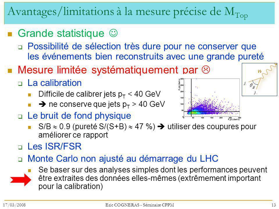 Avantages/limitations à la mesure précise de M Top Grande statistique Possibilité de sélection très dure pour ne conserver que les événements bien reconstruits avec une grande pureté Mesure limitée systématiquement par La calibration Difficile de calibrer jets p T < 40 GeV ne conserve que jets p T > 40 GeV Le bruit de fond physique S/B 0.9 (pureté S/(S+B) 47 %) utiliser des coupures pour améliorer ce rapport Les ISR/FSR Monte Carlo non ajusté au démarrage du LHC Se baser sur des analyses simples dont les performances peuvent être extraites des données elles-mêmes (extrêmement important pour la calibration) 17/03/200813Eric COGNERAS - Séminaire CPPM