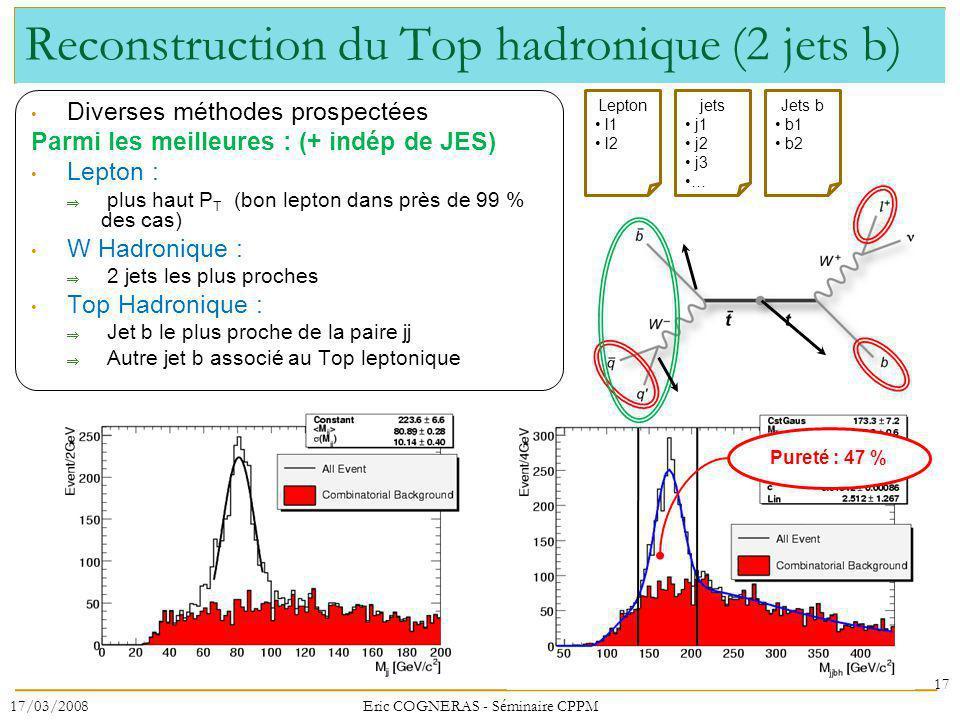 Reconstruction du Top hadronique (2 jets b) Diverses méthodes prospectées Parmi les meilleures : (+ indép de JES) Lepton : plus haut P T (bon lepton dans près de 99 % des cas) W Hadronique : 2 jets les plus proches Top Hadronique : Jet b le plus proche de la paire jj Autre jet b associé au Top leptonique 17 17/03/2008Eric COGNERAS - Séminaire CPPM Pureté : 47 % Lepton l1 l2 jets j1 j2 j3 … Jets b b1 b2