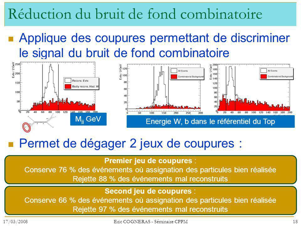 Réduction du bruit de fond combinatoire Applique des coupures permettant de discriminer le signal du bruit de fond combinatoire Permet de dégager 2 je
