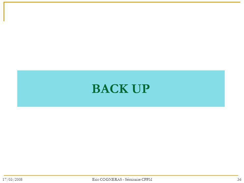 BACK UP 17/03/200836Eric COGNERAS - Séminaire CPPM