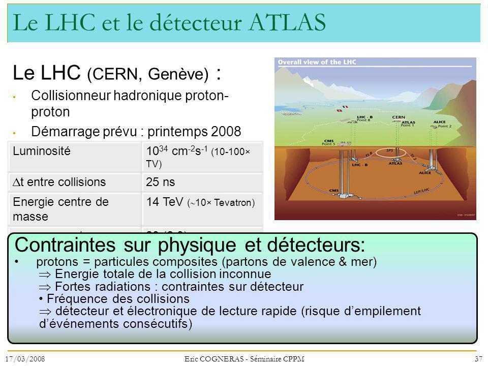 Le LHC et le détecteur ATLAS Le LHC (CERN, Genève) : Collisionneur hadronique proton- proton Démarrage prévu : printemps 2008 37 Luminosité10 34 cm -2 s -1 (10-100× TV) t entre collisions 25 ns Energie centre de masse 14 TeV ( 10× Tevatron) interactions / croisement 23 (2.3) Contraintes sur physique et détecteurs: protons = particules composites (partons de valence & mer) Energie totale de la collision inconnue Fortes radiations : contraintes sur détecteur Fréquence des collisions détecteur et électronique de lecture rapide (risque dempilement dévénements consécutifs) 17/03/2008Eric COGNERAS - Séminaire CPPM