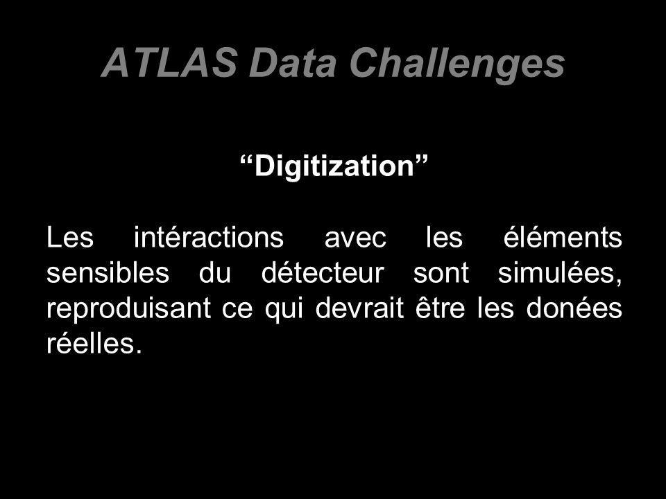 ATLAS Data Challenges Digitization Les intéractions avec les éléments sensibles du détecteur sont simulées, reproduisant ce qui devrait être les donées réelles.