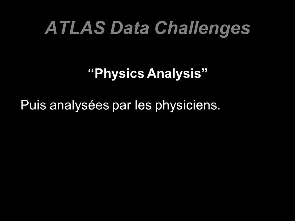ATLAS Data Challenges Physics Analysis Puis analysées par les physiciens.