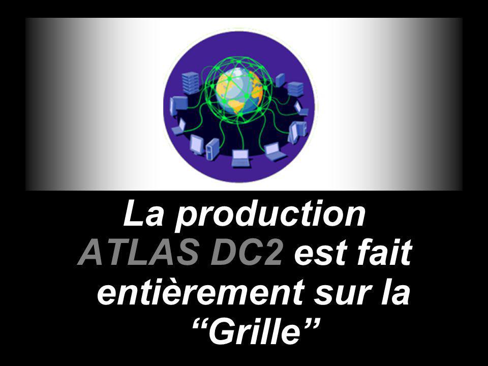 La production ATLAS DC2 est fait entièrement sur la Grille