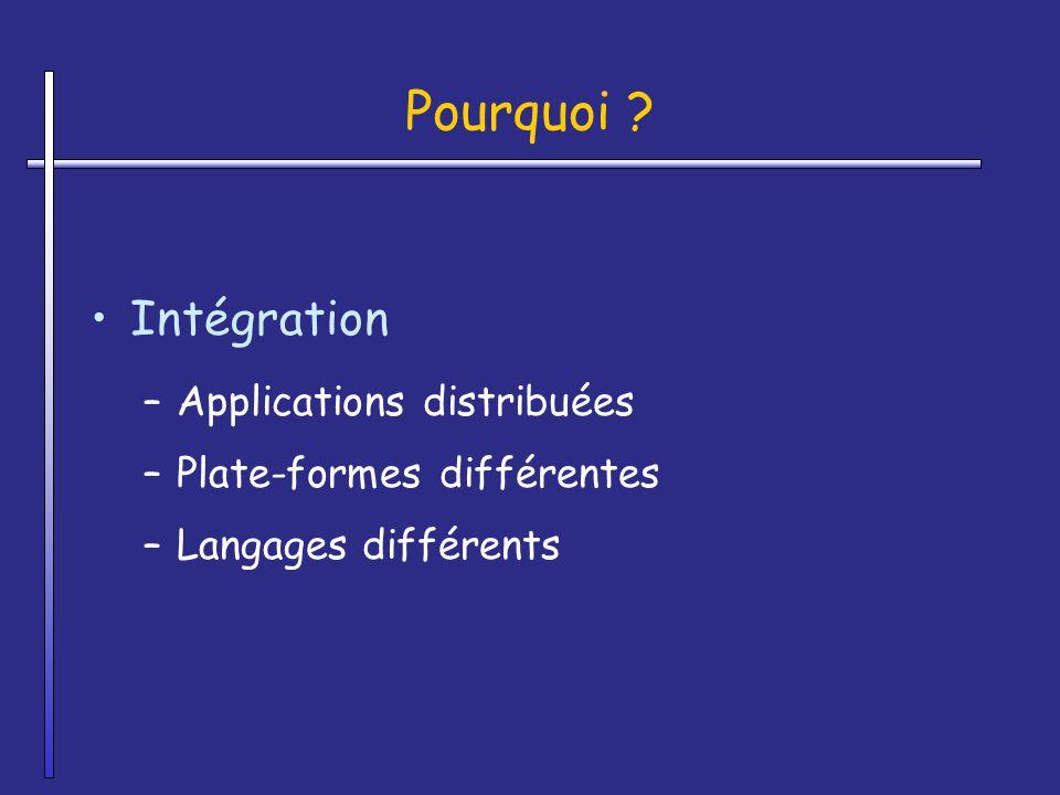 Pourquoi ? Intégration –Applications distribuées –Plate-formes différentes –Langages différents