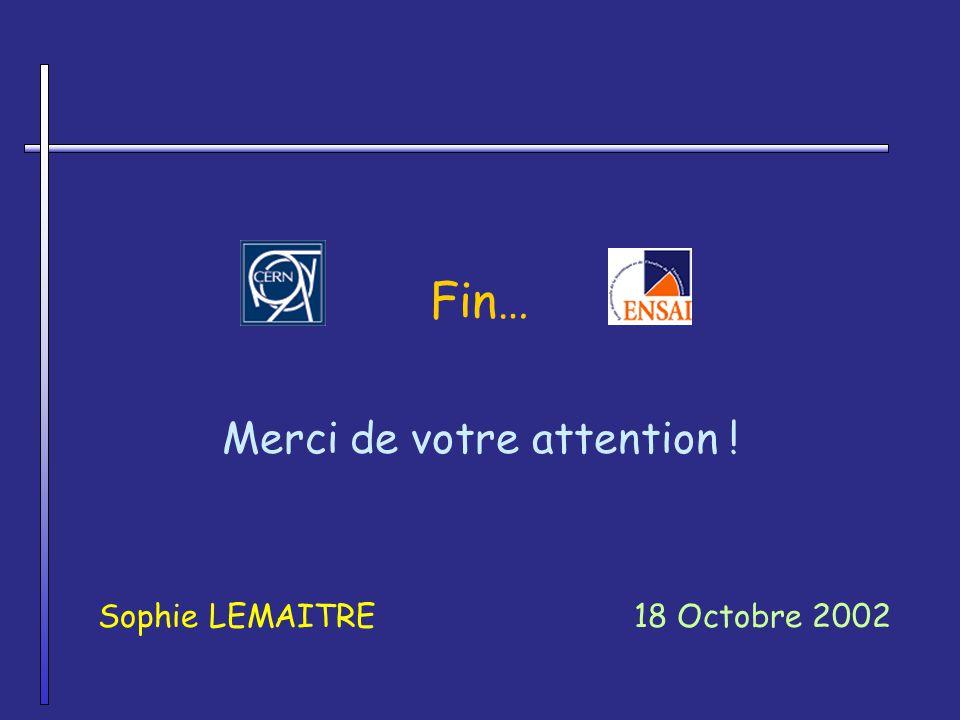 Fin… Merci de votre attention ! Sophie LEMAITRE18 Octobre 2002