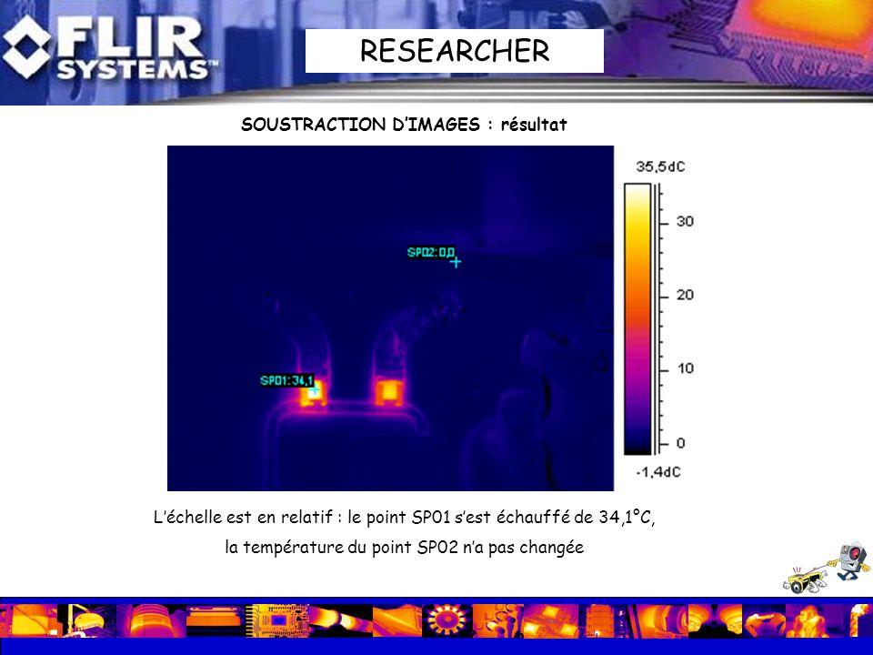 Léchelle est en relatif : le point SP01 sest échauffé de 34,1°C, la température du point SP02 na pas changée SOUSTRACTION DIMAGES : résultat RESEARCHE