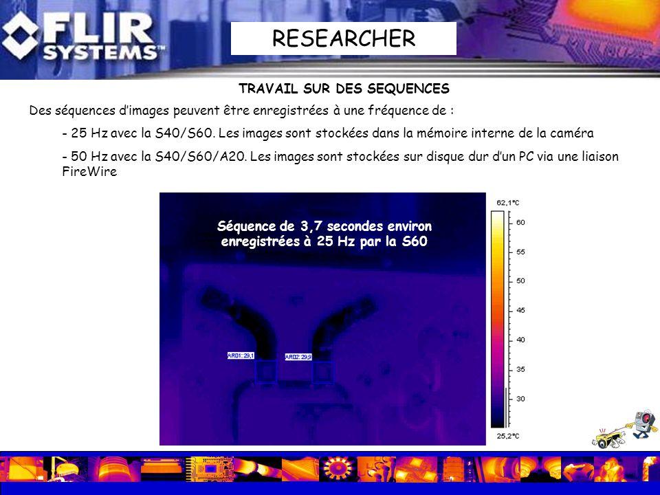 TRAVAIL SUR DES SEQUENCES Des séquences dimages peuvent être enregistrées à une fréquence de : - 25 Hz avec la S40/S60. Les images sont stockées dans