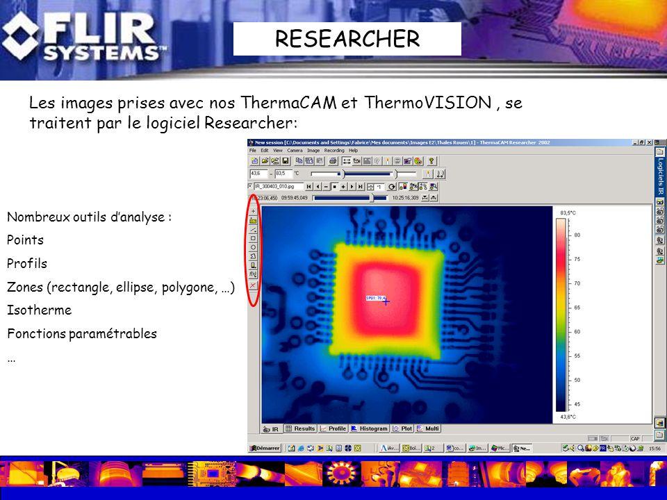 Les images prises avec nos ThermaCAM et ThermoVISION, se traitent par le logiciel Researcher: Nombreux outils danalyse : Points Profils Zones (rectang