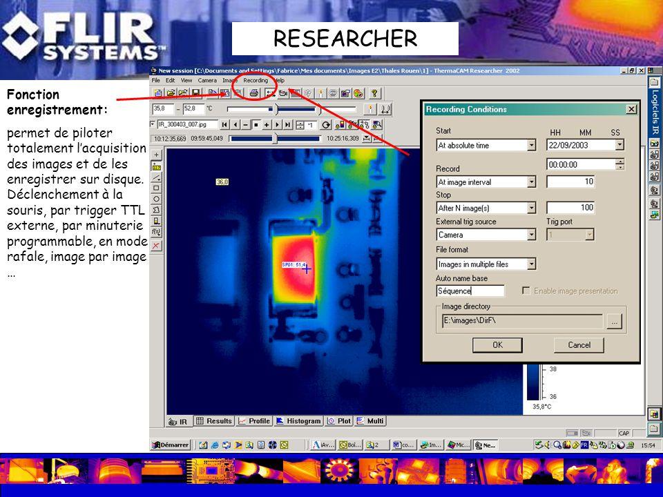 Fonction enregistrement: permet de piloter totalement lacquisition des images et de les enregistrer sur disque. Déclenchement à la souris, par trigger