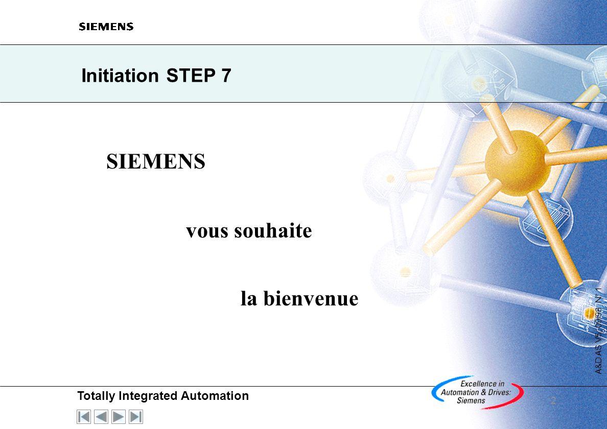Totally Integrated Automation A&D AS V5, 09/98 N° 1 2 Initiation STEP 7 SIEMENS vous souhaite la bienvenue