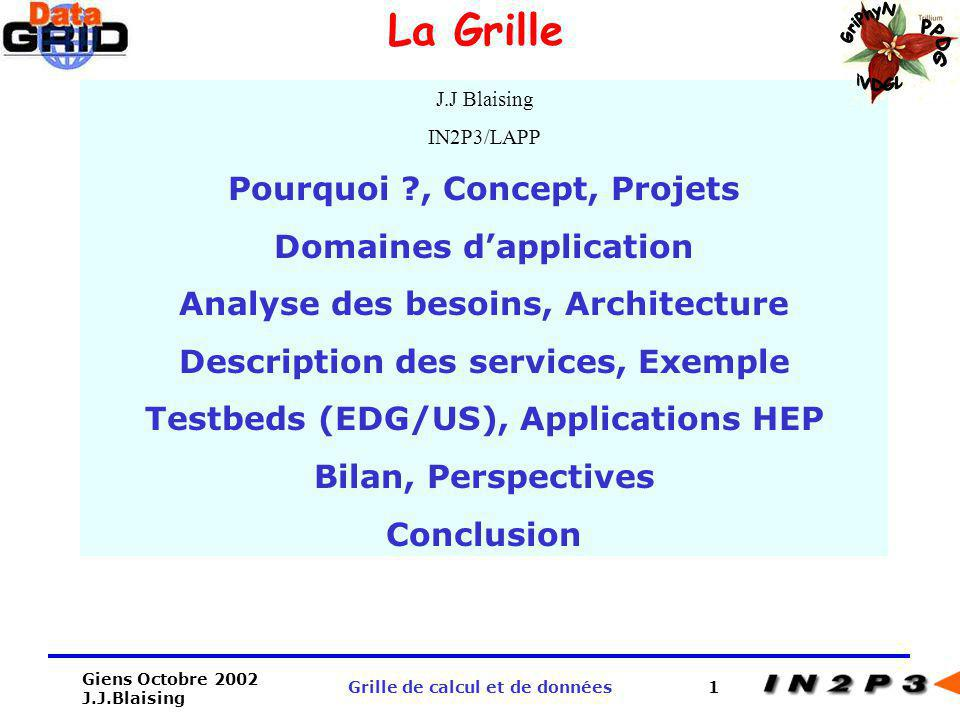 Giens Octobre 2002 J.J.Blaising Grille de calcul et de données12 Analyse des besoins Lanalyse des cas dutilisation des expériences LHC a permis didentifier les besoins en matière de calcul distribué.