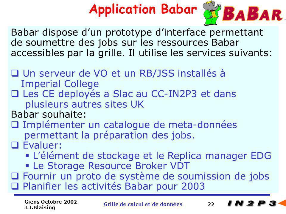 Giens Octobre 2002 J.J.Blaising Grille de calcul et de données22 Application Babar Babar dispose dun prototype dinterface permettant de soumettre des