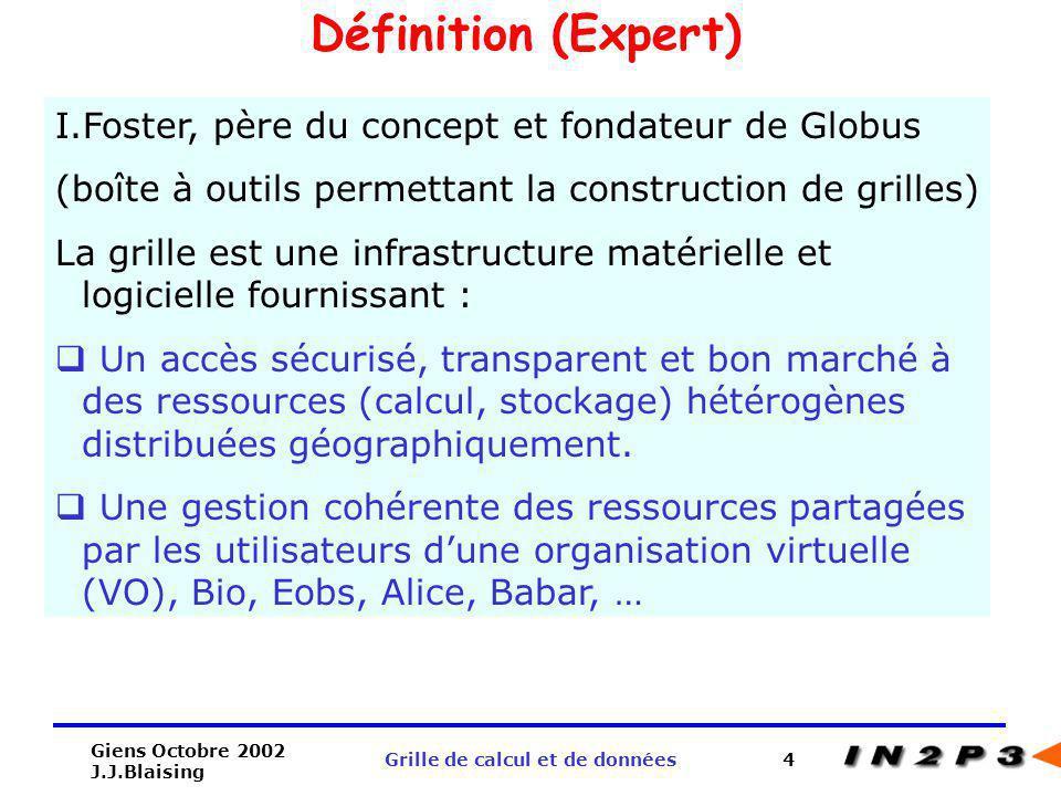 Giens Octobre 2002 J.J.Blaising Grille de calcul et de données4 Définition (Expert) I.Foster, père du concept et fondateur de Globus (boîte à outils p