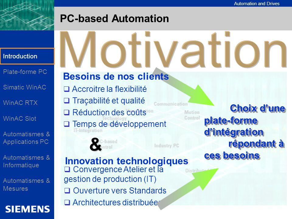 Automation and Drives PC-based Automation Accroitre la flexibilité Traçabilité et qualité Réduction des coûts Temps de développement Convergence Ateli
