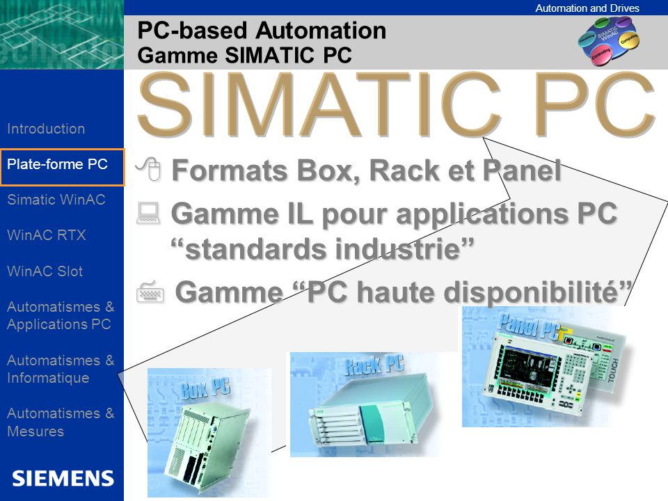 Automation and Drives PC-based Automation Gamme SIMATIC PC Formats Box, Rack et Panel Formats Box, Rack et Panel Gamme IL pour applications PC standar