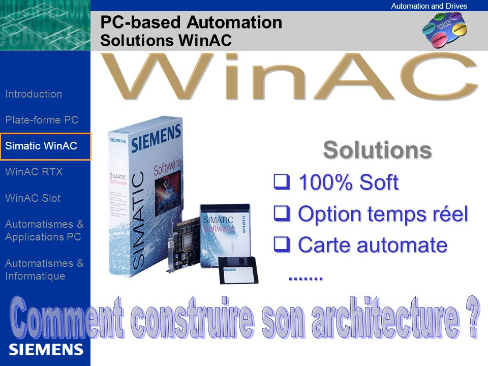 Automation and Drives Functionality WinAC MP V3.0 is based on WinAC Basis V3.0 with the following differences: WinAC Basis ODK is not supported WinAC Computing is not supported No WinAC OPC Server possible on the MP370 Only ActiveX Components designed for ProTool possible (ProTool SDK required) No direct data exchange between WinAC MP and other SIMATIC CPUs No Send/Receive implementation Exclusive access to WinAC MP controller with ProTool Accessing other controllers outside WinAC MP is not supported (e.g connected to PROFIBUS)