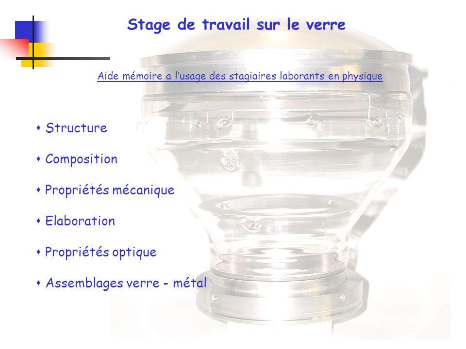 Stage de travail sur le verre Aide mémoire a lusage des stagiaires laborants en physique Structure Composition Propriétés mécanique Elaboration Propri